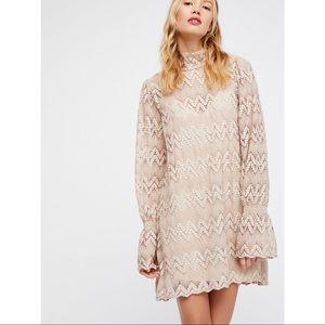 Free People Simone Mock Neck Crochet Lace Dress